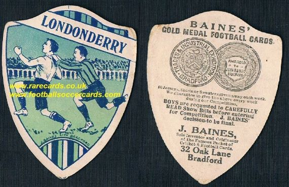1916 Derry Londonderry football shield card  Ireland by Baines